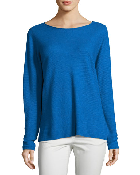 Eileen Fisher Organic Linen Knit Boat-Neck Top
