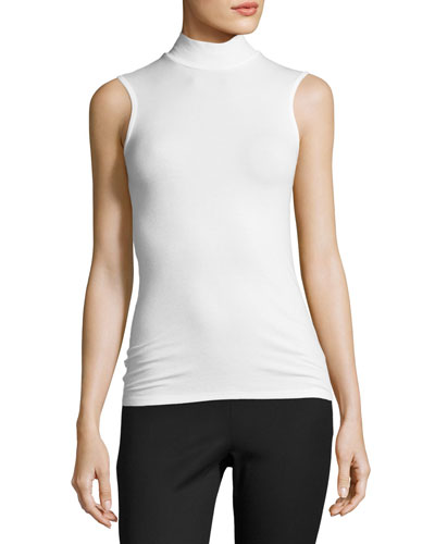 Sleeveless Stretch Jersey Mock-Neck Top