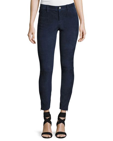Suede Super-Skinny Pants, Dark Blue