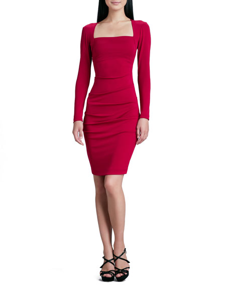 Nicole Miller Long-Sleeve Square-Neck Sheath Dress