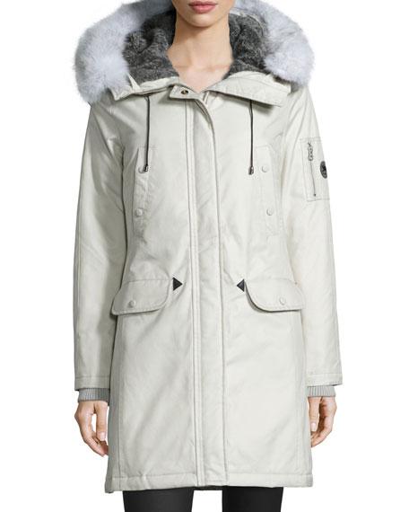 Aviation Fur-Hood Parka Coat