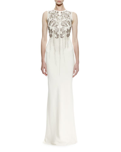 Sleeveless Chain-Embroidered Crepe Gown, Ivory