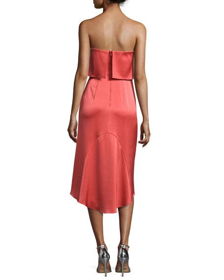 Strapless Satin Popover Cocktail Dress