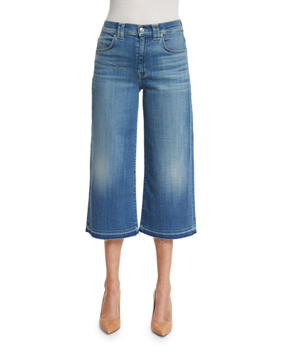 High-Waist Denim Culottes W/Released Hem, Sky Blue Broken Twill
