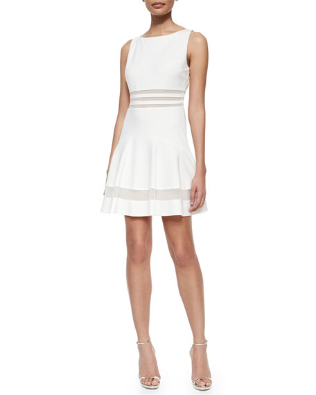Erin Fetherston Tessa Sleeveless Mesh-Striped Flounce Dress