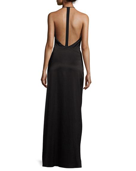 Wrap-Style Halter Column Gown