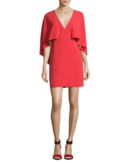 Cape-Sleeve Stretch Crepe Cocktail Dress