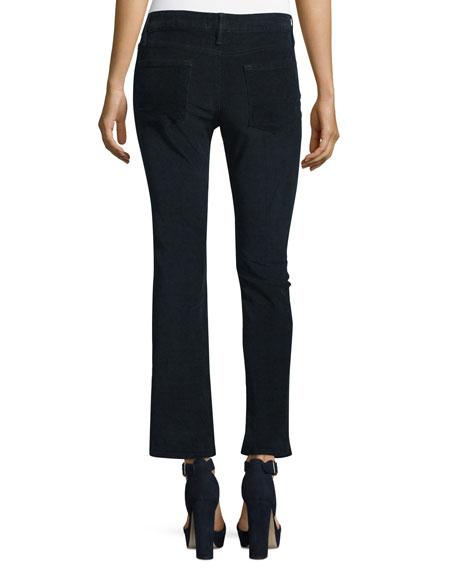 Le Crop Mini Boot-Cut Corduroy Pants, Deep Blue Dive