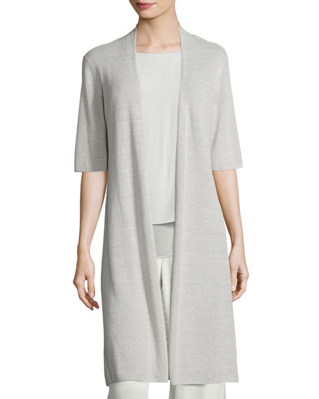 Eileen Fisher Ribbed Knee-Length Cardigan
