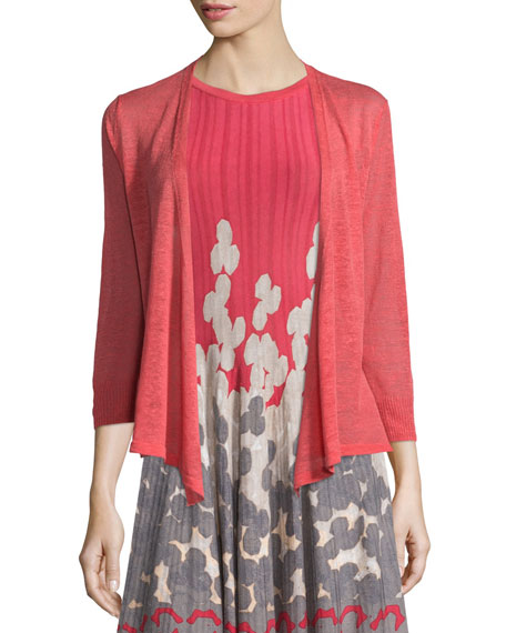 NIC+ZOE 4-Way Linen-Blend Cardigan, Spiced Rose