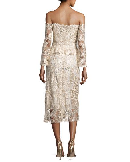 Adora Cold-Shoulder Floral Lace Cocktail Dress