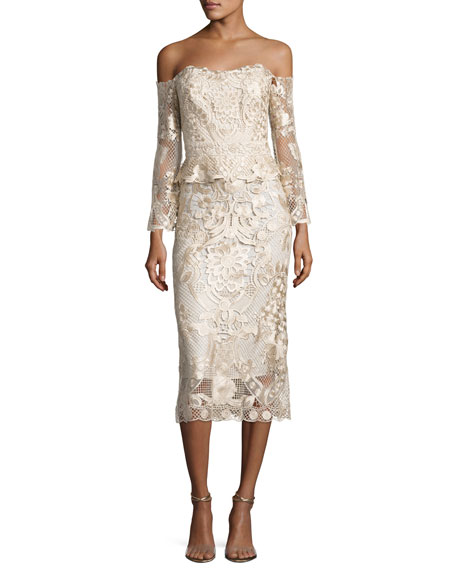 Kobi Halperin Adora Cold-Shoulder Floral Lace Cocktail Dress