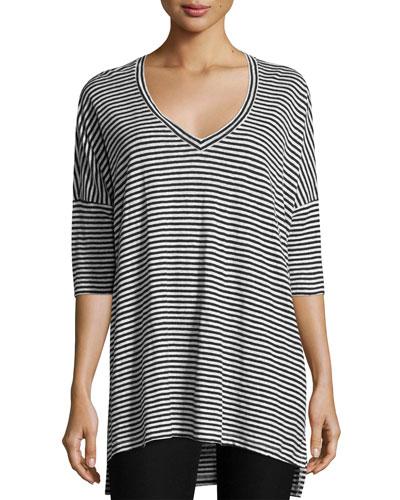 Striped Organic Linen Jersey V-Neck Tunic