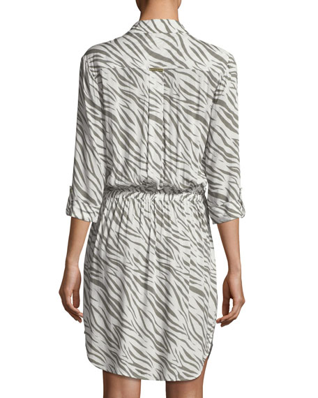 Kalahari Button-Front Zebra-Print Beach Shirtdress