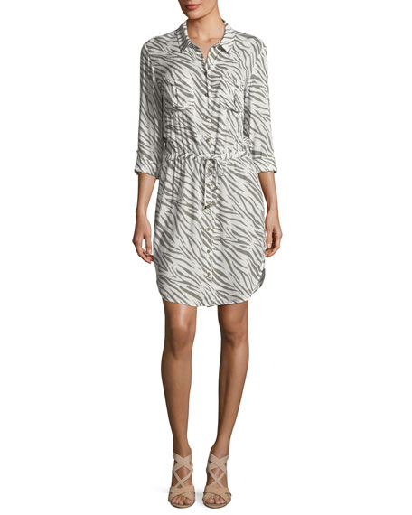 Heidi Klein Kalahari Button-Front Zebra-Print Beach Shirtdress