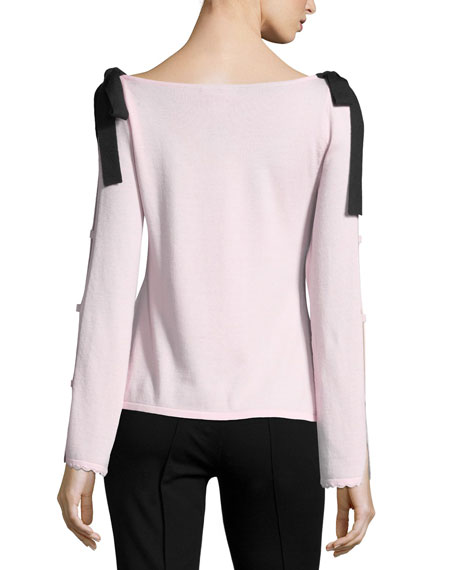 Beau Scoop-Neck Velvet Bow Sweater