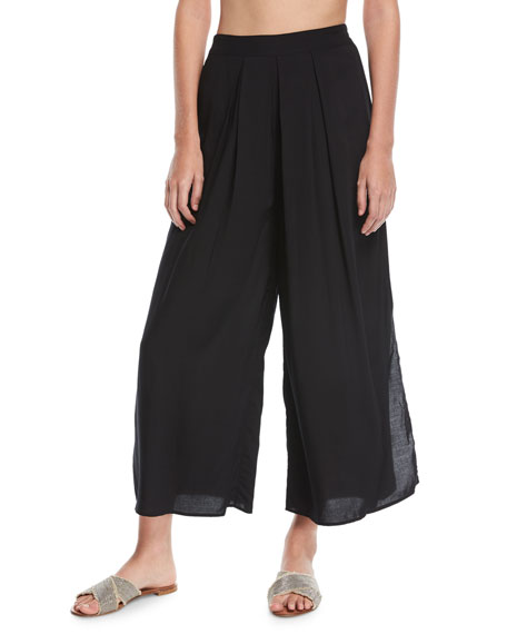 Wide-Leg Split-Side Voile Coverup Pants