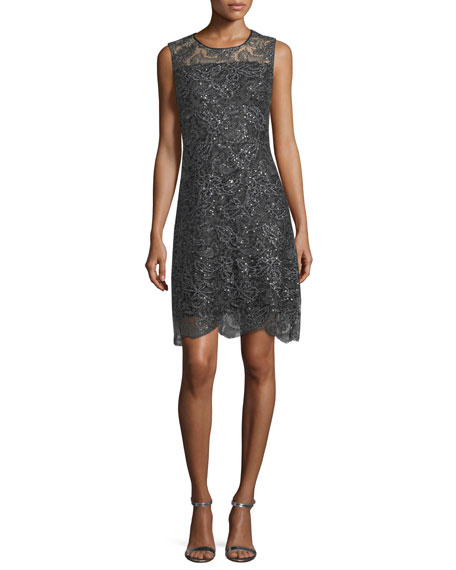 Elie Tahari Katrionne Sleeveless Sequin Cocktail Dress