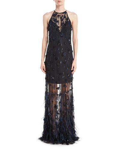 Amia Sleeveless Illusion Feather Evening Gown