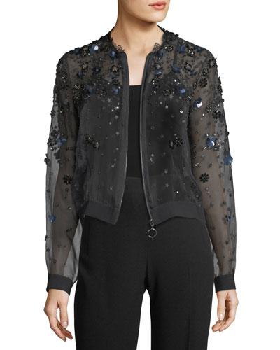 Zarinah Sheer Embellished Silk Jacket