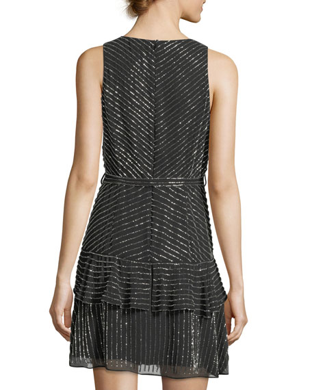 Estelle Metallic V-Neck Cocktail Dress