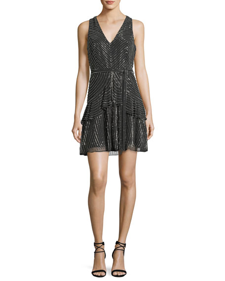 Parker Black Estelle Metallic V-Neck Cocktail Dress