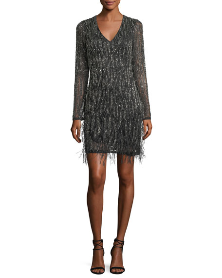Parker Black Gia Long-Sleeve Beaded Cocktail Dress w/