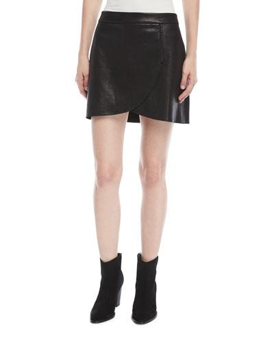 Lennon Leather Overlap Mini Skirt w/ Zip-Detail