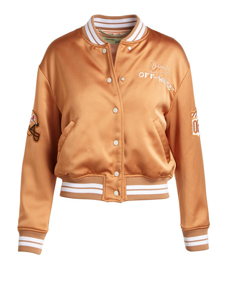 Varsity Bomber Jacket with Bird Patch at Back