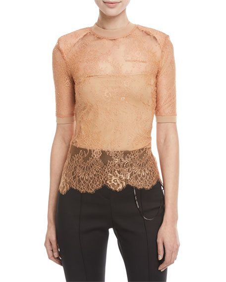 Short-Sleeve Crewneck Sheer Lace Top w/ Shoulder Pads