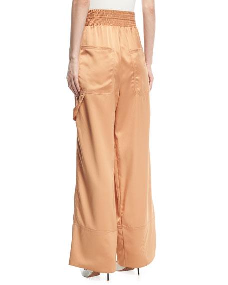 Smocked-Waist Wide-Leg Cargo Pajama Pants