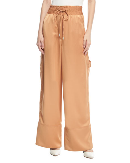 Off-White Smocked-Waist Wide-Leg Cargo Pajama Pants