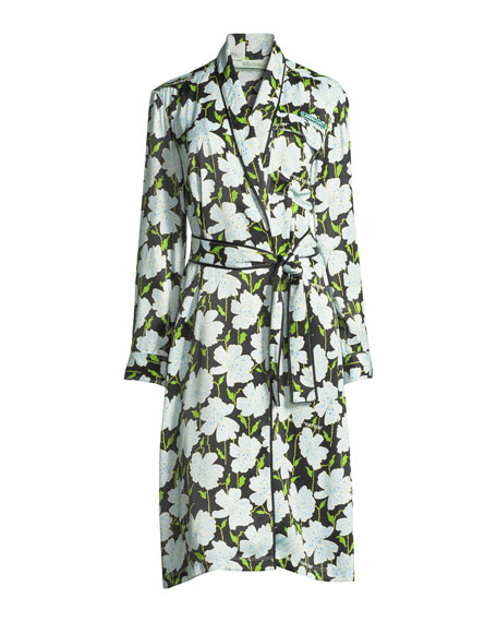 Floral-Print Pajama Robe Coat