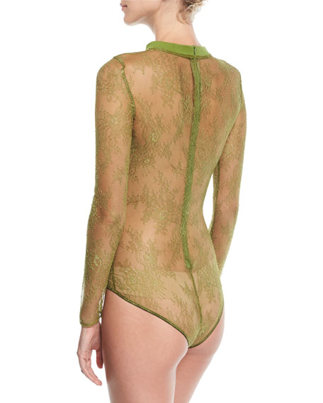 Crewneck Long-Sleeve Sheer Lace Bodysuit