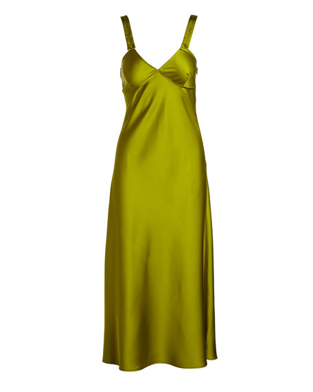 V-Neck Sleeveless Satin Tank Dress