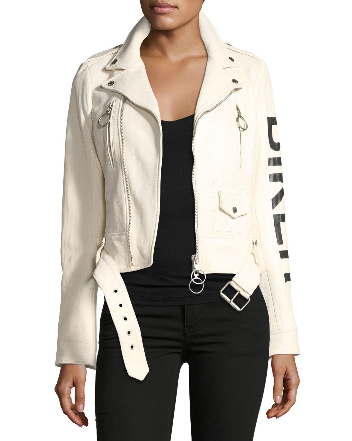 3f8491b67 Leather Biker Jacket with Graphic