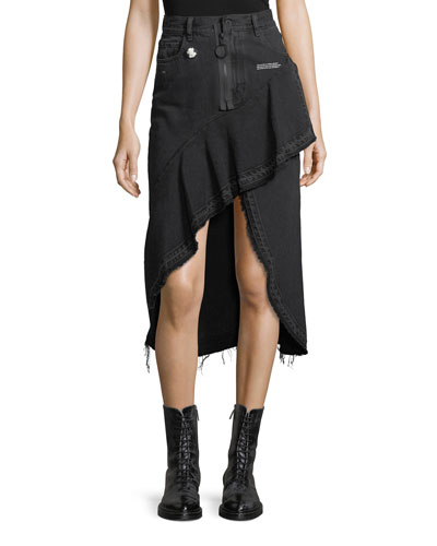 Asymmetric Denim Skirt with Raw-Edges