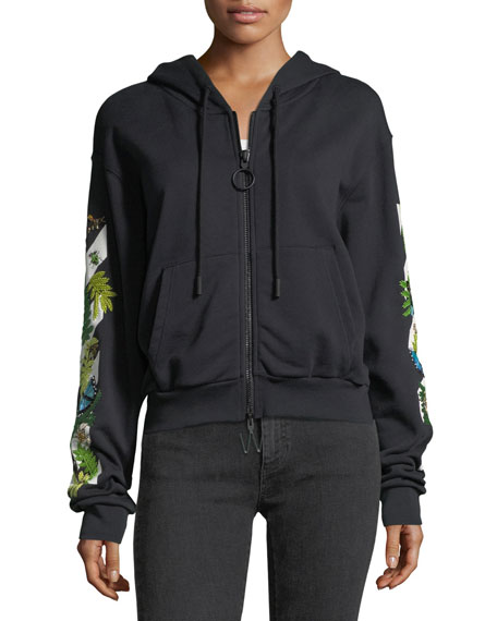 Embellished Graphic Zip-Front Crop Hoodie Sweatshirt