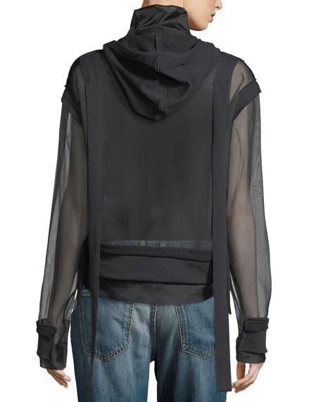 Zip-Front Organza Sweatshirt Hoodie