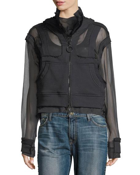 Off-White Zip-Front Organza Sweatshirt Hoodie