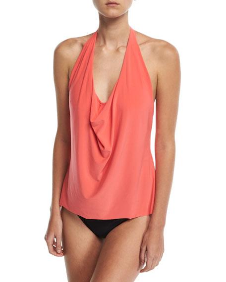 Sophie Solid Cowl-Neck Tankini Swim Top, Plus Size