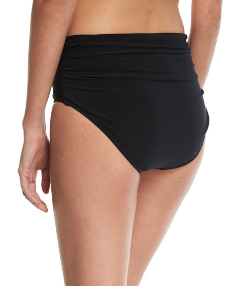 Jersey Brief Swim Bikini Bottom w/ Shirring, Plus Size