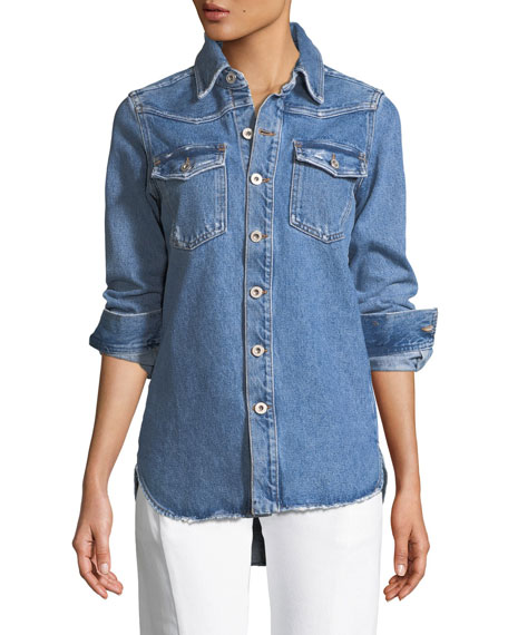 Flower Shop Long-Sleeve Denim Shirt