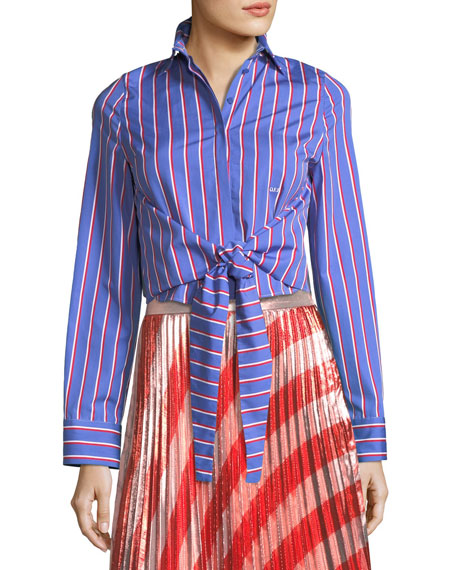 Off-White Pinstripe Ruffle-Back Tie-Front Shirt