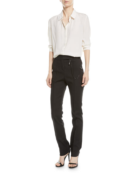 Cigarette Pants with Chain Detail