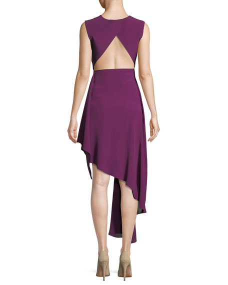 Sleeveless Draped Asymmetric High-Low Dress