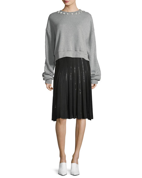 Pleated Sequin A-Line Skirt