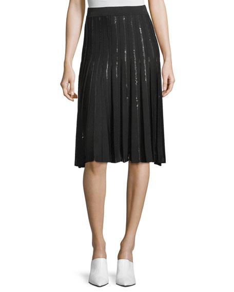 Jonathan Simkhai Pleated Sequin A-Line Skirt