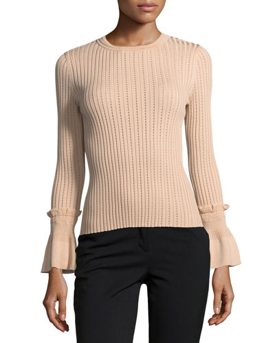 Perforated Knit Crewneck Sweater