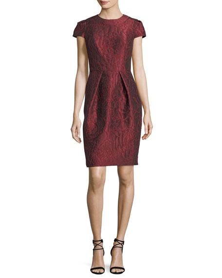 Carmen Marc Valvo Floral Jacquard Short-Sleeve Cocktail Dress
